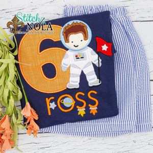 Personalized Birthday Astronaut Applique Colored Garment