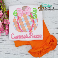 Personalized Gingham Pumpkin Bow Sketch Shirt