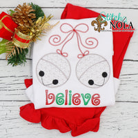 Personalized Christmas Jingle Bells Believe Sketch Shirt