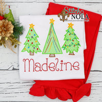 Personalized Christmas Tree with Lights Trio Sketch Shirt