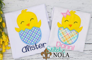 Personalized Easter Chick Hatching Appliqué Shirt