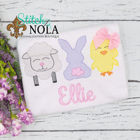 Personalized Easter Bunny Lamb & Chick Sketch Shirt