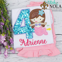 Personalized Birthday Flip Sequin Mermaid Applique Shirt