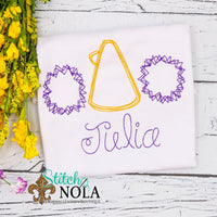 Personalized Purple and Gold Cheerleader Trio Sketch Shirt