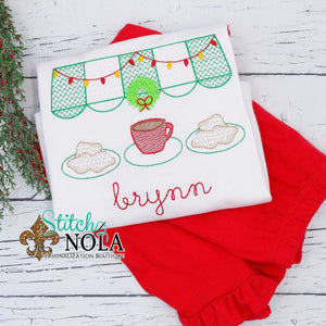 Personalized Christmas New Orleans Cafe & Beignets Sketch Shirt
