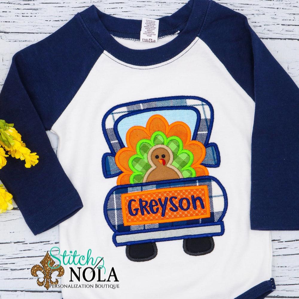 Personalized Turkey in Truck Applique Shirt