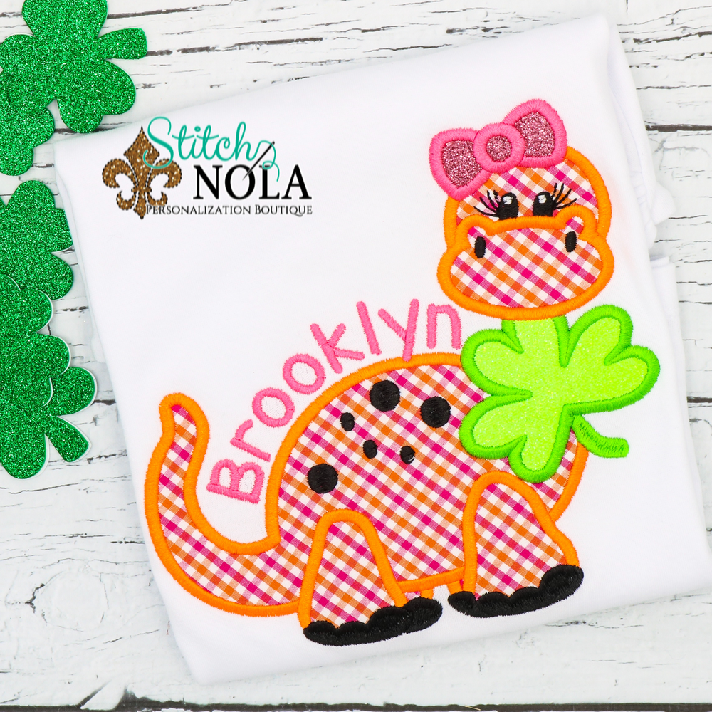 Personalized St. Patrick's Day Dinosaur with Clover Appliqué Shirt
