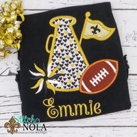 Personalized Black and Gold Megaphone on Colored Garment
