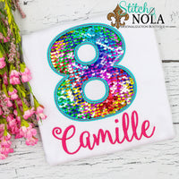 Personalized Birthday Flip Sequin Applique Shirt