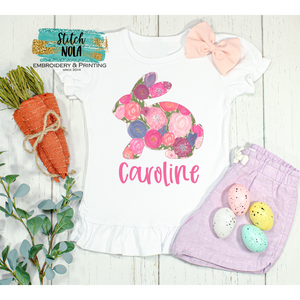Personalized Floral Easter Bunny Printed Shirt