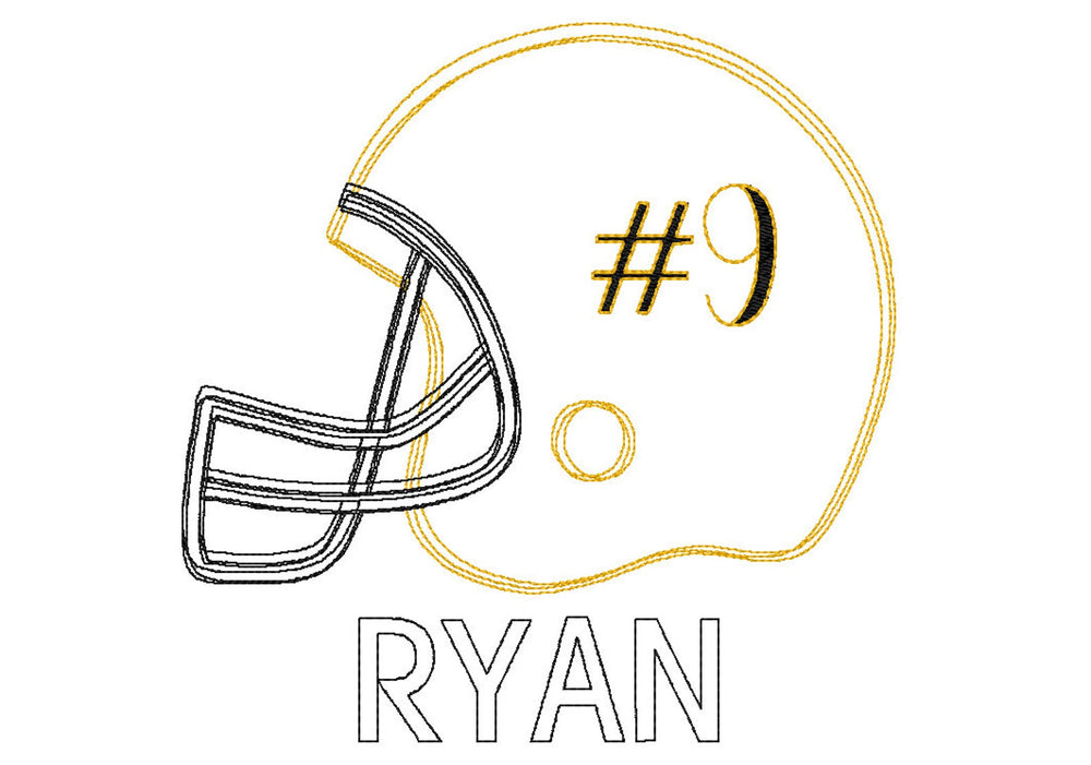 PERSONALIZED BLACK AND GOLD FOOTBALL HELMET SKETCH SHIRT