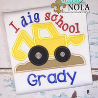 Personalized Back to School Digger Applique Shirt