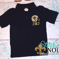 Personalized Black and Gold Helmet with Fleur de Lis Collared Shirt