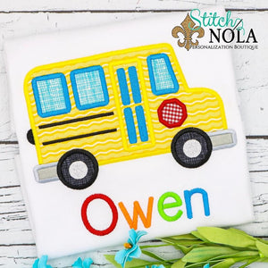 Personalized Back to School Bus Applique Shirt