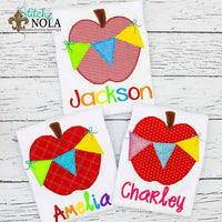 Personalized Back to School Apple with Bunting Flag Applique Shirt