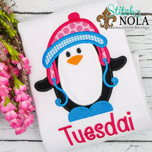 Personalized Christmas Girl Penguin Applique Shirt