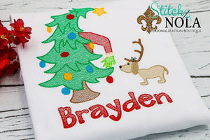 Personalized Christmas Tree with Green Monster & Dog Sketch Shirt
