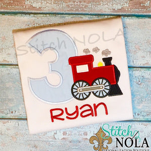 Personalized Birthday Train Appliqué