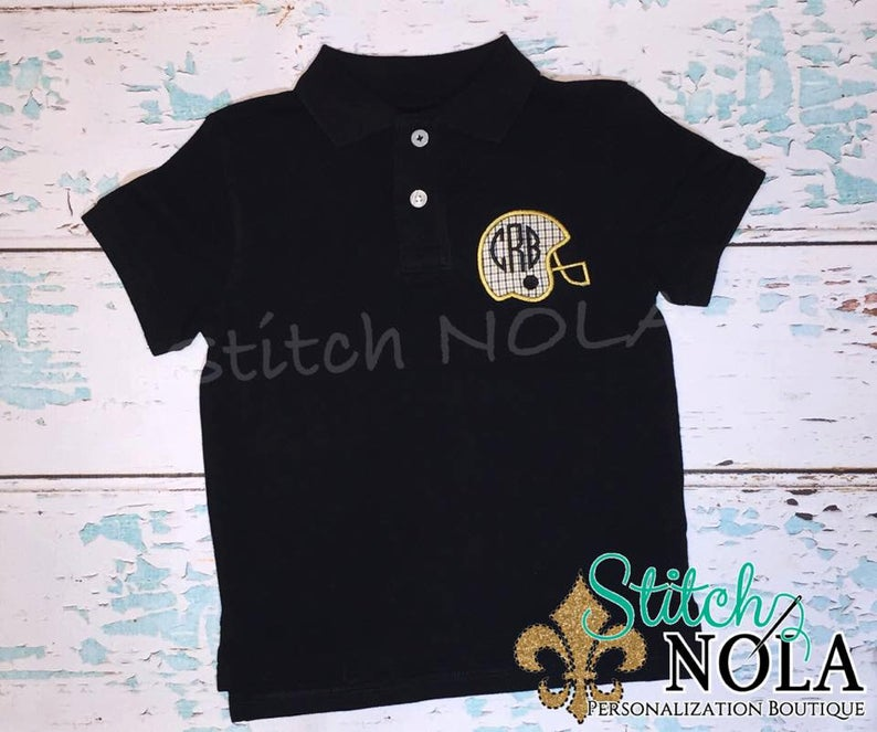 Personalized Black and Gold Helmet Monogram Collared Shirt