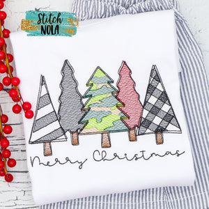 Personalized Camo Christmas Tree Bunch Sketch Shirt
