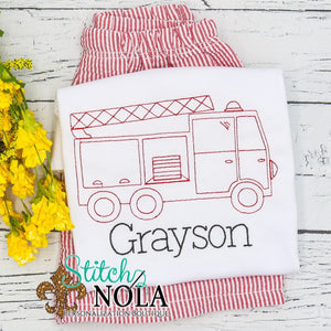 Personalized Vintage Fire Truck Shirt
