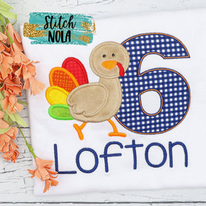 Personalized Thanksgiving Turkey Birthday Appliqué Shirt