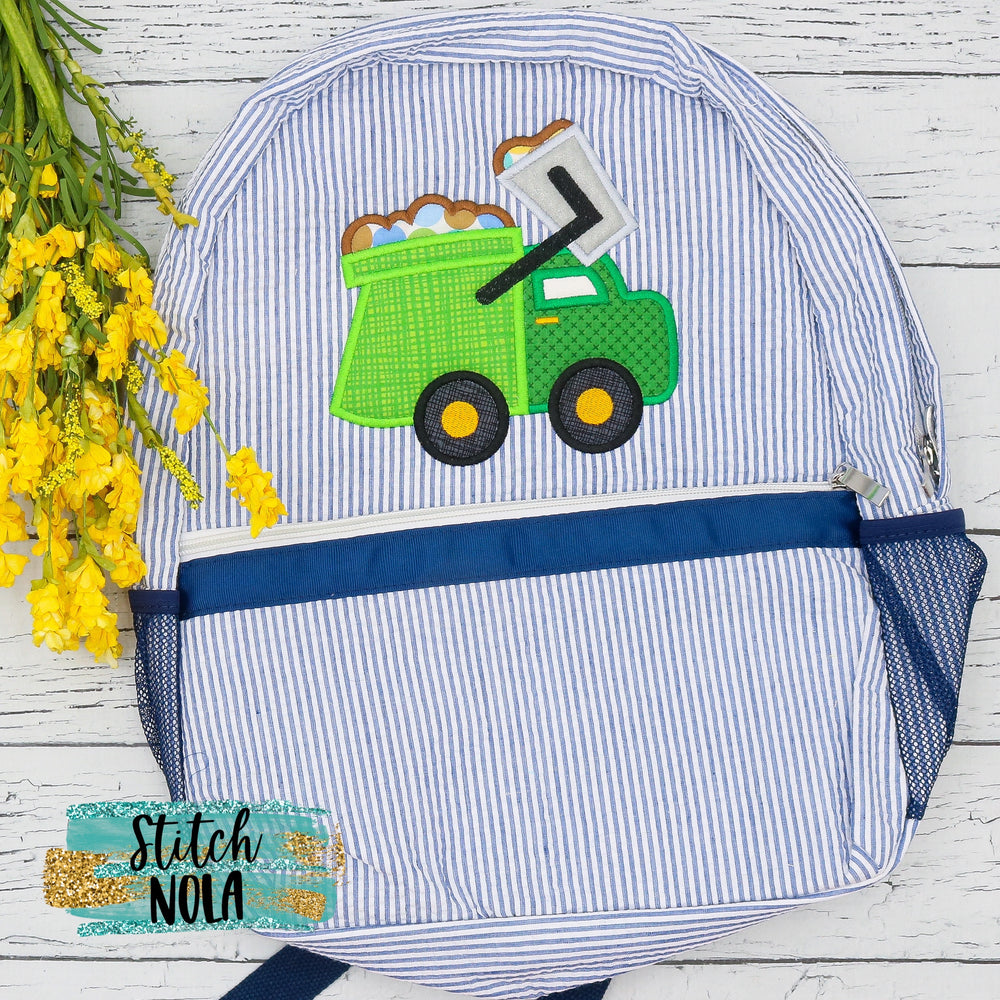 Personalized Seersucker Backpack with Garbage Truck Applique, Seersucker Diaper Bag, Seersucker School Bag, Seersucker Bag, Diaper Bag, School Bag, Book