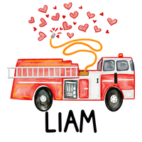Personalized Valentines Firetruck Printed Shirt