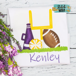 Personalized Purple & Gold Cheer Printed Shirt