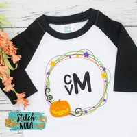 Personalized Halloween Wreath Pumpkin Sketch Shirt
