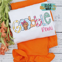 Personalized Girl Gobble Printed Shirt
