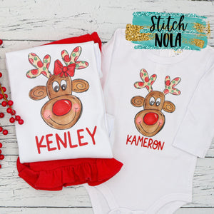 Personalized Reindeer Printed Shirt