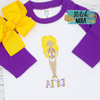 Personalized Purple & Gold Louisiana Dancer Sketch Shirt
