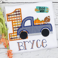 Personalized Pumpkin and Football Birthday Truck Appliqué Shirt