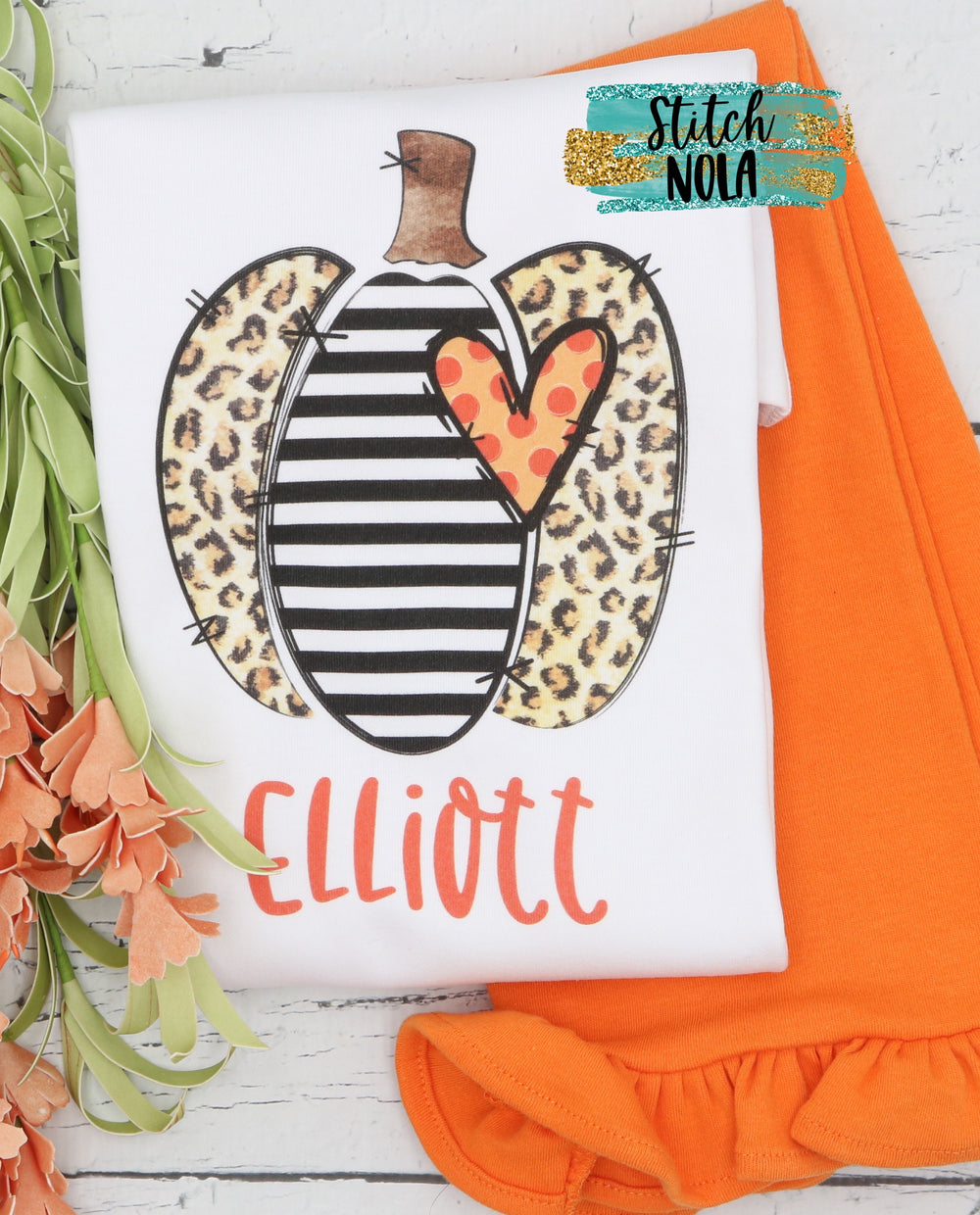 Personalized Leopard and Black Striped Pumpkin Printed Shirt