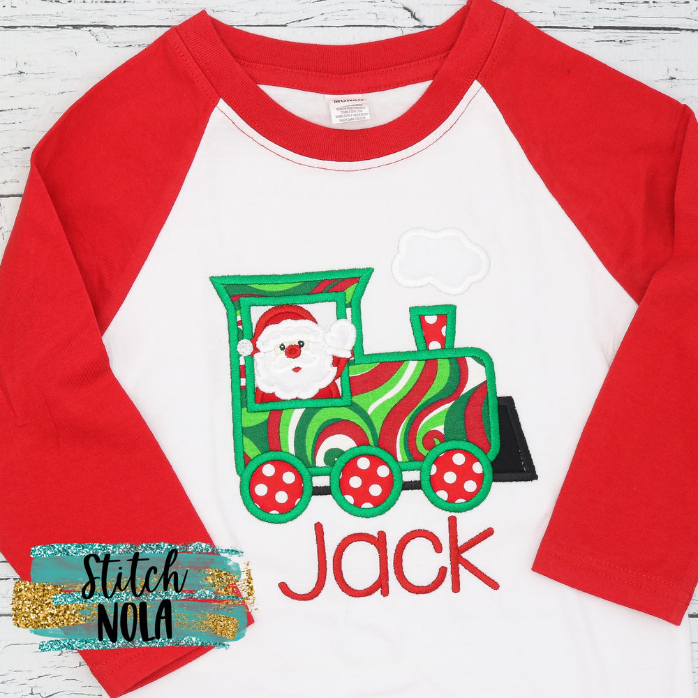 Personalized Christmas Train with Santa Applique Shirt