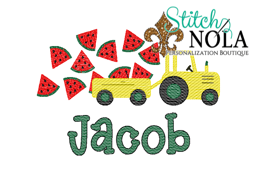 Personalized Watermelon Tractor Sketch Shirt