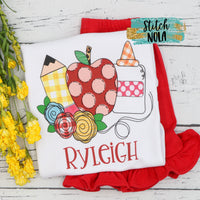 Personalized Back to School Floral Apple Trio Printed Shirt