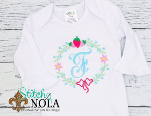 Personalized Strawberry Wreath Monogram Shirt