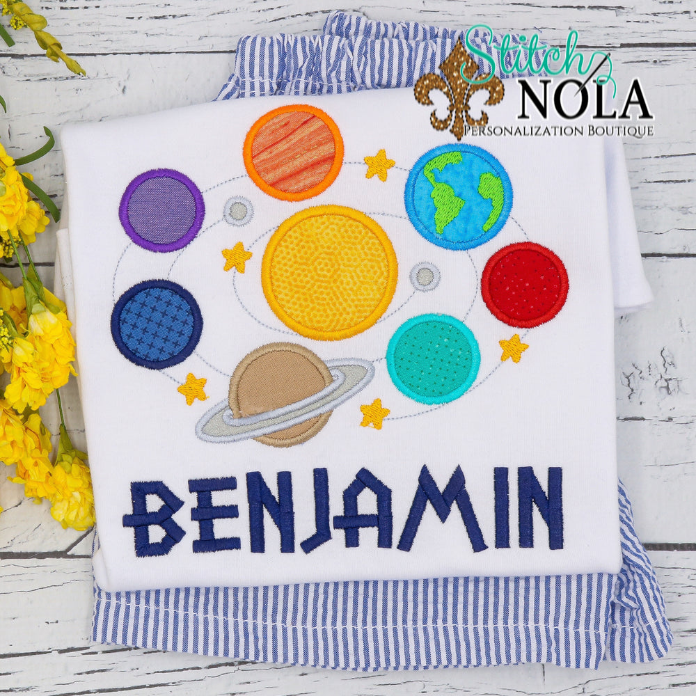 Personalized Solar System Planets Applique Shirt