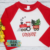 Personalized Christmas Train Printed Shirt