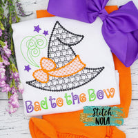 Personalized Halloween Witch Hat Bad to the Bow Motif Shirt