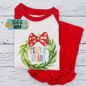 Personalized Christmas Merry & Bright Wreath Printed Shirt