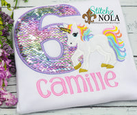 Personalized Flip Sequin Unicorn Birthday Applique Shirt