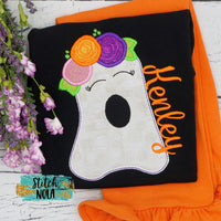 Personalized Floral Ghost on Colored Garment