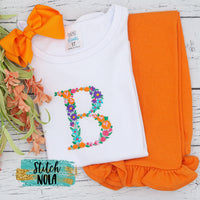 Personalized Fall Floral Letter or Name Embroidered Shirt