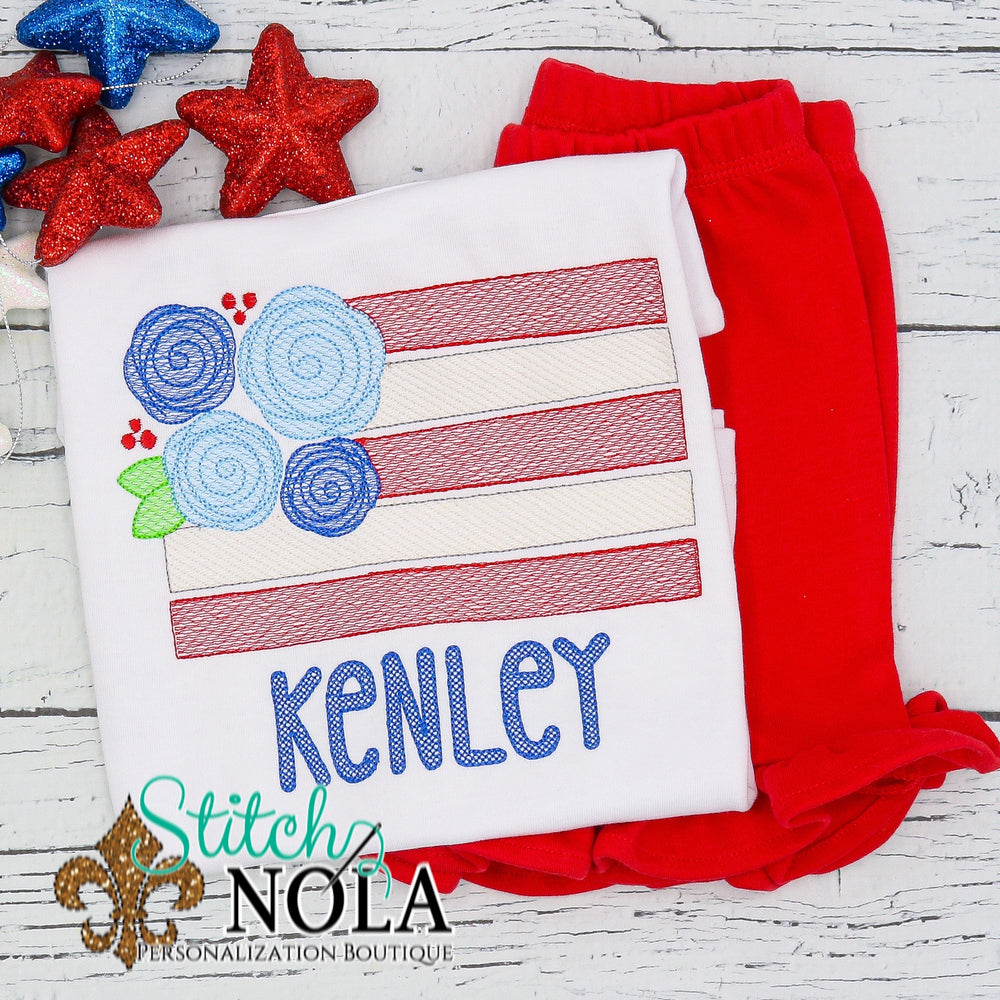 Personalized Patriotic Floral American Flag Sketch Shirt