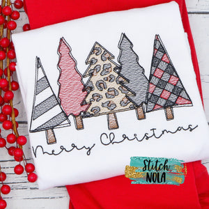 Personalized Leopard Christmas Tree Bunch Sketch Shirt