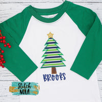 Personalized Christmas Tree with Star Applique Shirt