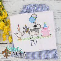 Personalized Farm Animals with Party Hats and Balloons Sketch Shirt